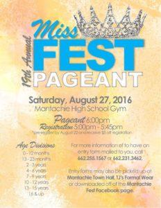 19th Annual Miss Fest Pageant @ Mantachie High Gym
