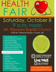 Health Fair @ Mt. Pleasant Baptist Church | Fulton | Mississippi | United States