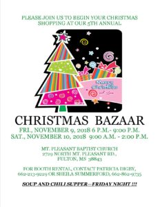 Christmas Bazaar- Mt. Pleasant Baptist @ Mt. Pleasant Baptist Church