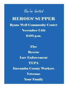 Heroes' Supper @ Ryan's Well RCDC