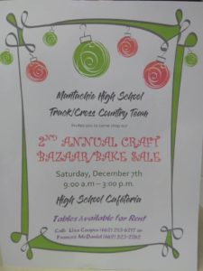 2nd annual craft bazaar and bake sale @ Mantachie HIgh school cafeteria