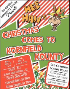Hee Haw's Christmas Comes to Kornfield Kountry @ The old Carolina Schoolhouse
