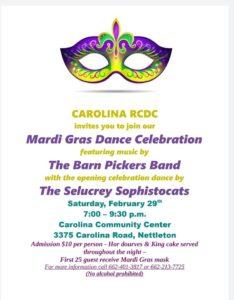 Mardi Gras Dance Celebration @ Carolina Community Center